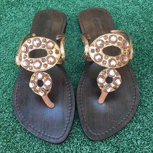 NWT Mystique Jeweled Leather Sandal Bronze 7
